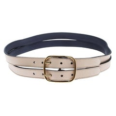 Burberry Ivory Leather Lynton Double Strap Belt 90CM