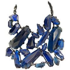 BURBERRY Large Blue Rhinestone Necklace