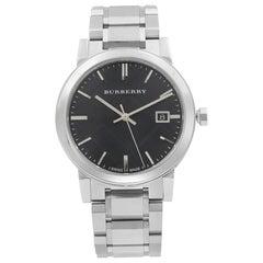 Burberry Large Check Stainless Steel Black Dial Quartz Men's Watch BU9001