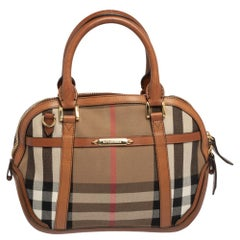 Burberry Leather And Canvas Birdle House Check Orchard Small Bowling Bag