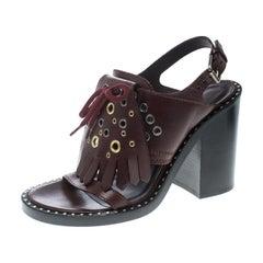 Burberry Leather Beverley Eyelet Fringe Detail Block Heel Sandals Size 36