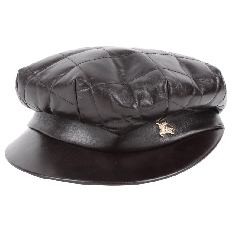 Burberry Leather Hat For Sale