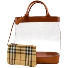 Burberry Leather & PVC Tote Bag with Nova Check Pouch 30cm