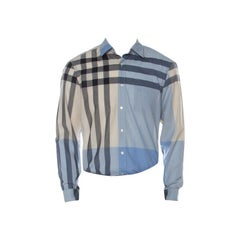 Burberry Light Blue & Beige Nova Check Linen Blend Shirt L