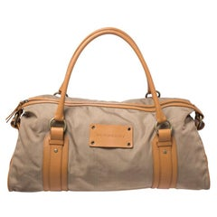 Burberry Light Brown Canvas and Leather Duffle Bag