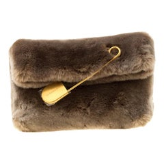 Burberry Light Grey Faux Fur Medium Pin Clutch