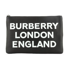 Burberry Logo Zip Pouch Printed Leather Medium