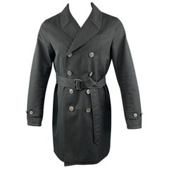 BURBERRY LONDON 38 Black Cotton Double Breasted Trenchcoat