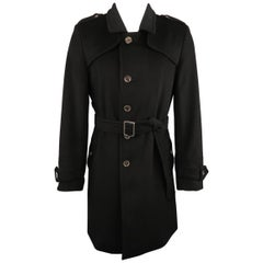 BURBERRY LONDON 38 Black Wool Blend Trenchcoat