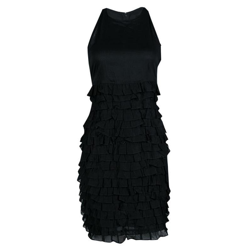 88d3d0604b1 Burberry Black Knit Trimmed with Black Ceramic Beads on Sleeveless Dress  For Sale at 1stdibs
