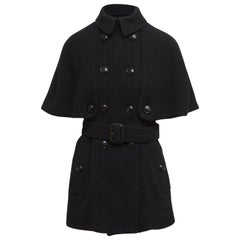 Burberry London Black Double-Breasted Cape with Coat