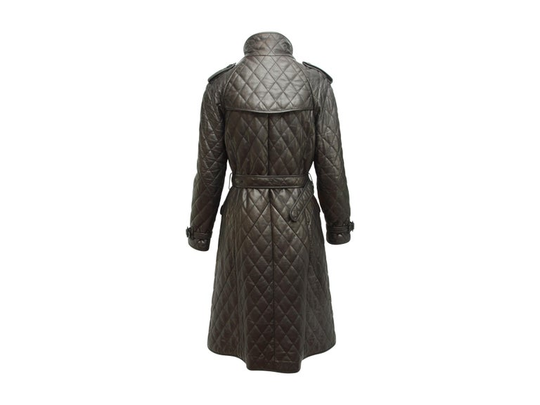 Burberry London Black Leather Quilted Leather Trenchcoat In Good Condition For Sale In New York, NY