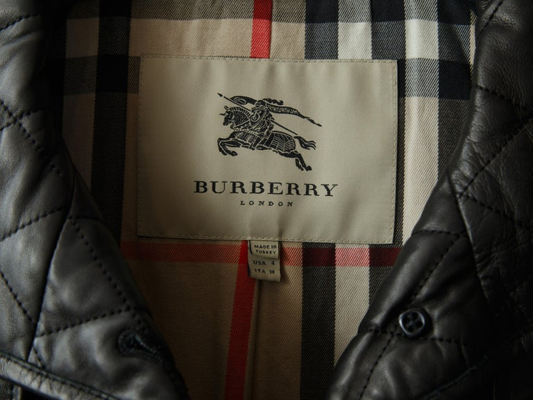 Women's Burberry London Black Leather Quilted Leather Trenchcoat For Sale