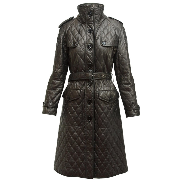 Burberry London Black Leather Quilted Leather Trenchcoat For Sale