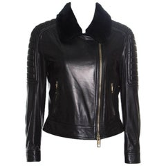Burberry London Black Quilted Lambskin Leather Shearling Collar Detail Jacket M