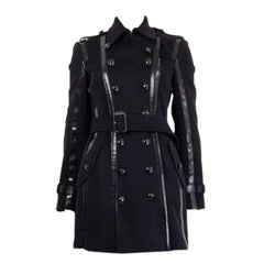 BURBERRY LONDON black wool LEATHER TRIMMED DOUBLE BREASTED Coat Jacket 6 XS