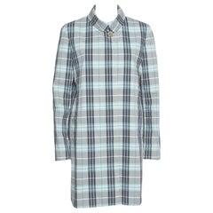 Burberry London Blue Cotton Nova Check Coat M