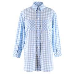 Burberry London Blue Gingham Cotton Poplin Shirt Dress - Size US 00