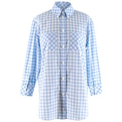 Burberry London Blue Gingham Cotton Poplin Shirt Dress XXS 2