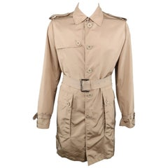 BURBERRY LONDON Chest Size L Khaki Solid Nylon Belted Trenchcoat