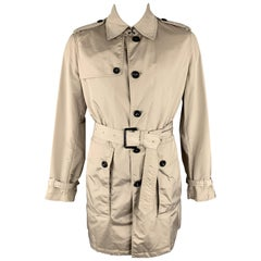 BURBERRY LONDON M Taupe Nylon Belted Trenchcoat