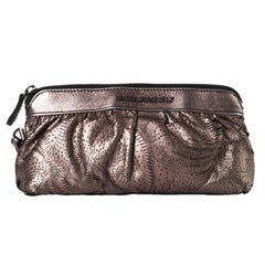 Burberry London Metallic Perforated Floral Wristlet Pouch