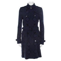 Burberry London Navy Blue Lace Double Breasted Trench Coat S