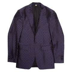 Burberry London Purple Silk Brocade Tailored Blazer XS