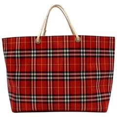 Burberry London Red Nova Check Tote Bag 46cm