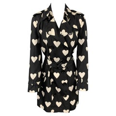 BURBERRY LONDON Size 10 Black & White Heart Print Silk / Wool Trench Coat