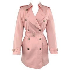 BURBERRY LONDON Size 10 Pink Cotton Blend Double Breasted Trench Coat