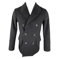 BURBERRY LONDON Size 36 Black Wool Double Breasted Peacoat