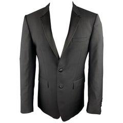 BURBERRY LONDON Size 38 Black Wool / Mohair Notch Lapel Sport Coat