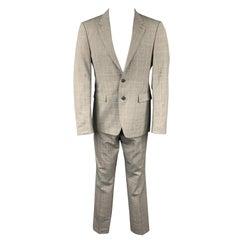 BURBERRY LONDON Size 38 Regular Grey Glenplaid Virgin Wool Suit