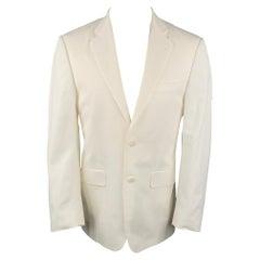 BURBERRY LONDON Size 38 White Cotton Notch Lapel Sport Coat