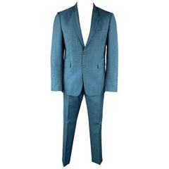BURBERRY LONDON Size 42 Teal Sharkskin Wool / Mohair Notch Lapel Pants Suit