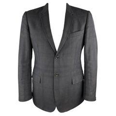 BURBERRY LONDON Size 44 Black Plaid Cotton Blend Notch Lapel Sport Coat