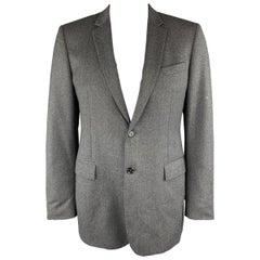 BURBERRY LONDON Size 44 Gray Wool Notch Lapel Long Sport Coat Jacket