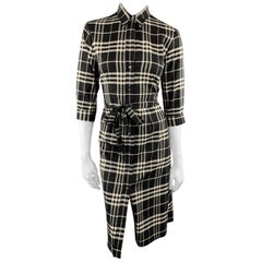 BURBERRY LONDON Size 6 Black & White Plaid Wool / Elastane Shirt Dress Dress