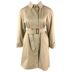 BURBERRY LONDON Size 8 Khaki Cotton Blend Raglan Sleeve Belted Coat