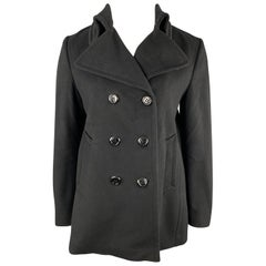 BURBERRY LONDON Size L Black Wool / Cashmere Double Breasted Pea Coat