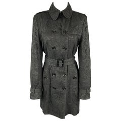 BURBERRY LONDON Size M Black Lace Double Breasted Trench Coat