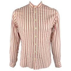 BURBERRY LONDON Size M Brick Red Stripe Cotton Blend Button Up Long Sleeve Shirt