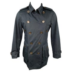 BURBERRY LONDON Size M Navy Cotton / Polyurethane Double Breasted Coat