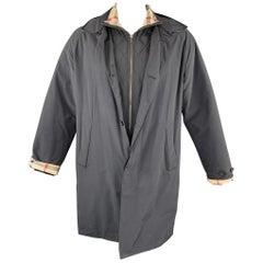 BURBERRY LONDON Size M Navy Nylon / Cotton Zip & Buttons Detachable Jacket Coat