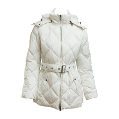 Burberry London White Quilted Puffer Coat