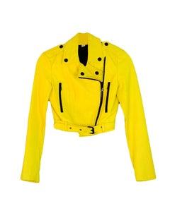 Burberry London Yellow Leather Moto Jacket w Black Zippers sz 2