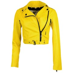 Burberry London Yellow Leather Moto Jacket with Black Zippers sz 2