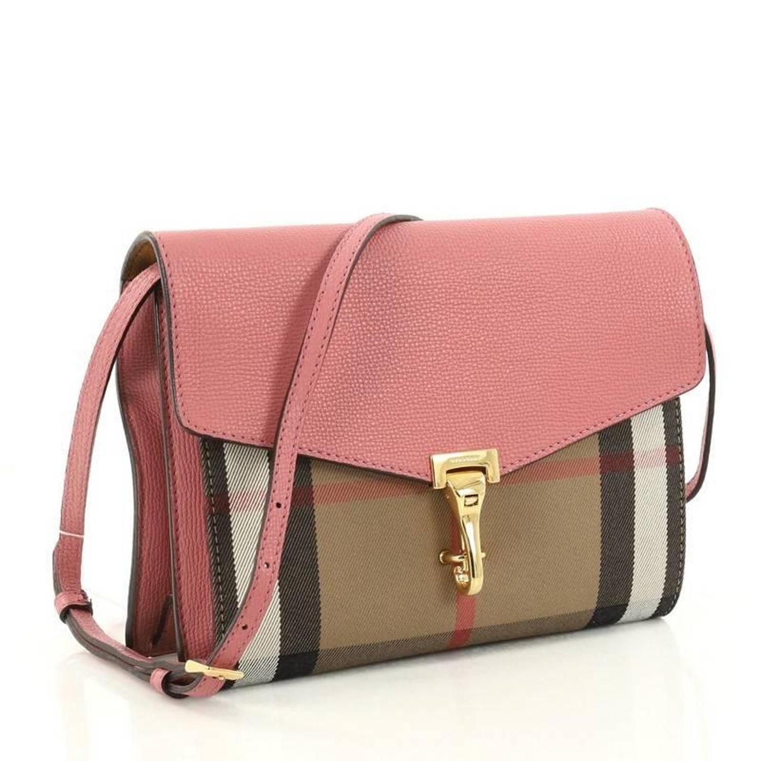 d0d59229b6a9 Burberry Macken Crossbody Bag Leather and House Check Canvas Small at  1stdibs