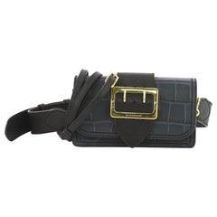 Burberry Madison Buckle Flap Bag Crocodile Embossed Leather Medium